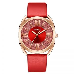Glitter Quartz Belt Watch Red