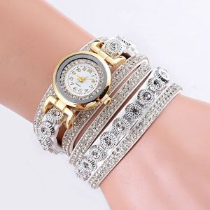 Velvet Winding Pu Belt Bracelet Watch