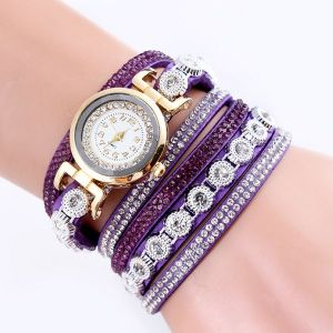 Velvet Winding Pu Belt Bracelet Watch Purple