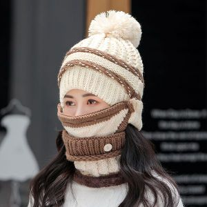 White Three-piece Hat Bib Mask Women's Winter Plus Velvet Padded Ear Protection Knitted Hat