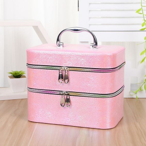 PINK MULTI-SECTION TWO-TIER PORTABLE JEWELLERY MAKEUP BOX