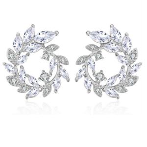 Silver Circular Ivy Jewel Earrings