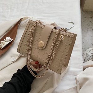 Brown Tan Rectangular with Chain Bag