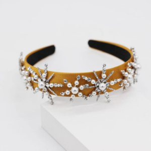 Mustard Yellow Star Shaped Rhinestone and Pearl Headband