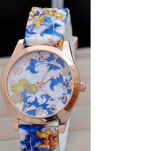 Blue Floral Print Silicone Watch
