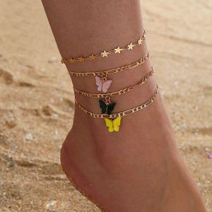 Colour Butterfly  4-piece Set Alloy Anklet