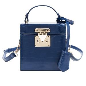 Blue Crocodile Print Cube Crossbody Bag with Strap
