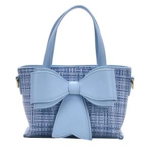 Blue Bow Handbag with Gold Detachable Chain
