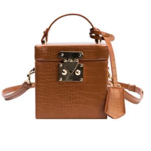 Brown Tan Crocodile Print Cube Crossbody Bag with Strap