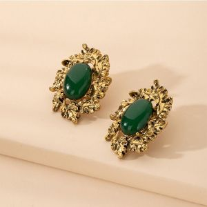 Gold and Emerald Retro Alloy Earrings