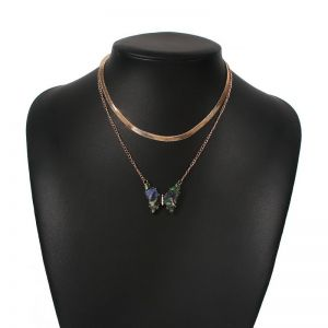 Blue and Green Butterfly Pendant Layered Necklace