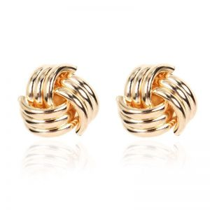 Gold Geometric Spiral Earrings