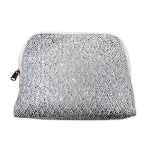 Silver Glitter Small Makeup Bag