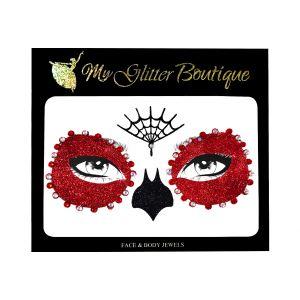 Red Sugar Skull Halloween Face Stickers