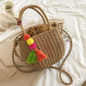 Brown Jute Handbag with Tassel Keychain