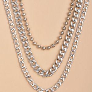 Fashion Alloy Heavy Metal Chain Women's Multi-layer Necklace