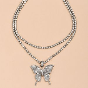 Full Diamond Butterfly Pendant Women's Necklace