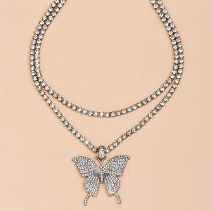 Full Diamond Butterfly Pendant Women's Necklace