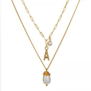 Pearl Multilayer Necklace Alloy Simple Letter A Necklace