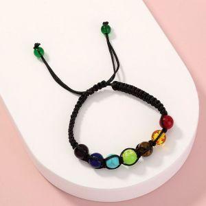 Multi-color Stone Woven Bracelet