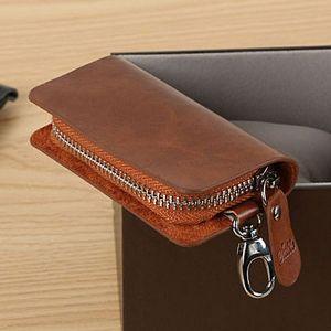 Men's Leather Zipper Multi-function Car Key Clip