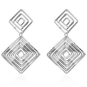 Silver Square Earrings Wholesale