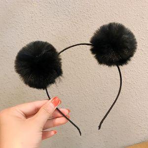 Black Fur Ball Headband