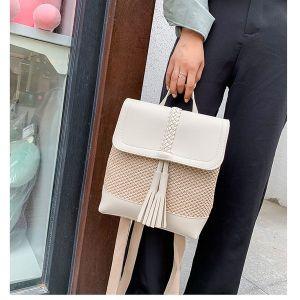 White Tassel Woven Backpack