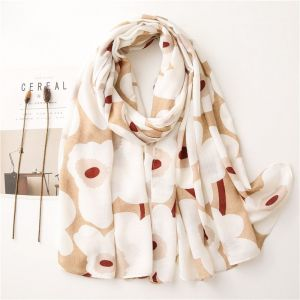 White Flowers Wild Dual-use Thin Room Cotton And Linen Scarf