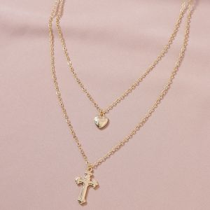 Cross Pendant Double-layer Women's Necklace