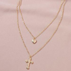 Cross Pendant Double-layer Women's Necklace