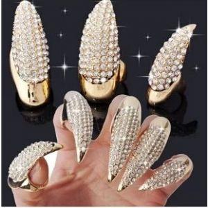 Demon Tips Long Nail Sleeve Thumb Ring Golden