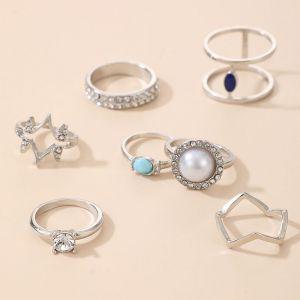 Seven-piece Pearl Gem Ring