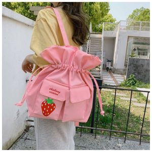 Strawberry Fruit Drawstring Shoulder Bag Pinkish