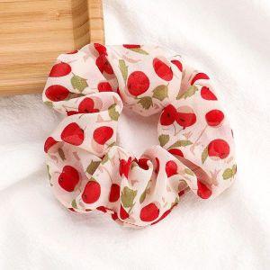Cherry Printed Scrunchies White