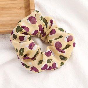 Cherry Printed Scrunchies Yellow