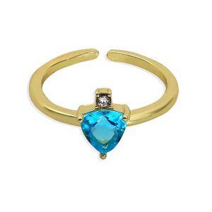 Sapphire Colour Rhinestone Inlaid Open Ring