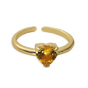 Amber Colour Rhinestone Inlaid Open Ring