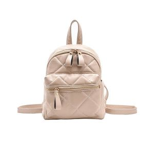Leather Glossy Look Backpack Beige