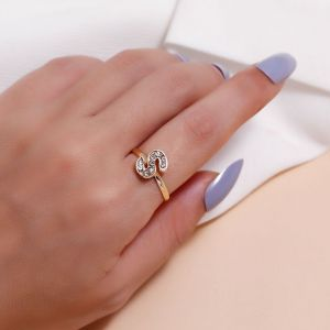 Rhinestone Letter S Ring