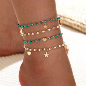4 Piece Beaded Chain Anklet