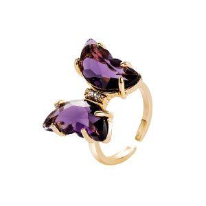 Diamond Butterfly Open Ring