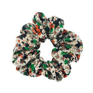 Cotton And Linen Scrunchies Green Black