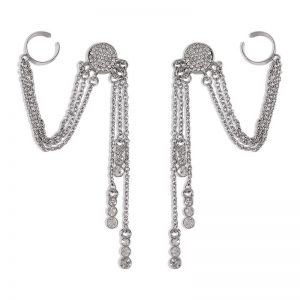 New Fringe Long Simple Diamond Earrings