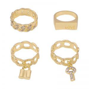 Creative Lock Key Luxury Diamond Ring