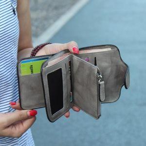 Side Buckle Multi-card Short Wallet