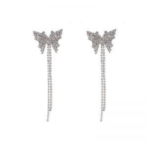 Butterfly Rhinestone Tassel Long Earrings
