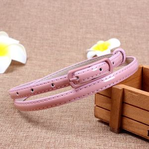 Light Pink Faux Leather Metal Buckle Thin Belt