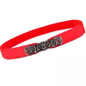 Leather Rose Waist Belt Strap Red
