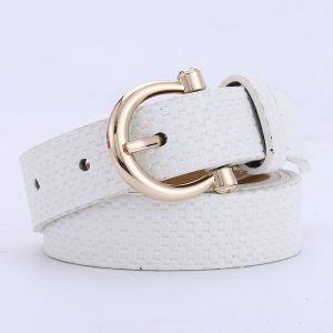 Straw Mat Pattern Belt Wild Pu Pin Buckle - White
